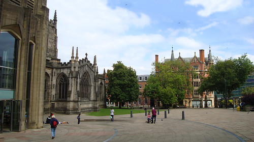 A view of Sheffield cathedral with the public square in front of it