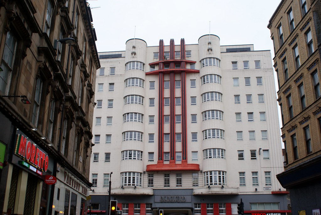 Beresford Hotel, construction art deco à Glasgow.