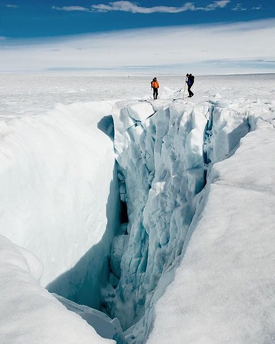 """Mind the gap.""  @t.j.young, T'12 and Duke Global Baton alum, shares this shot from his research site on the Greenland ice sheet. #greenland #glacier #ice #arctic #fieldwork #dukeiseverywhere #mountaineering #adventure #dukeuniversity #dukeglobal #travel"