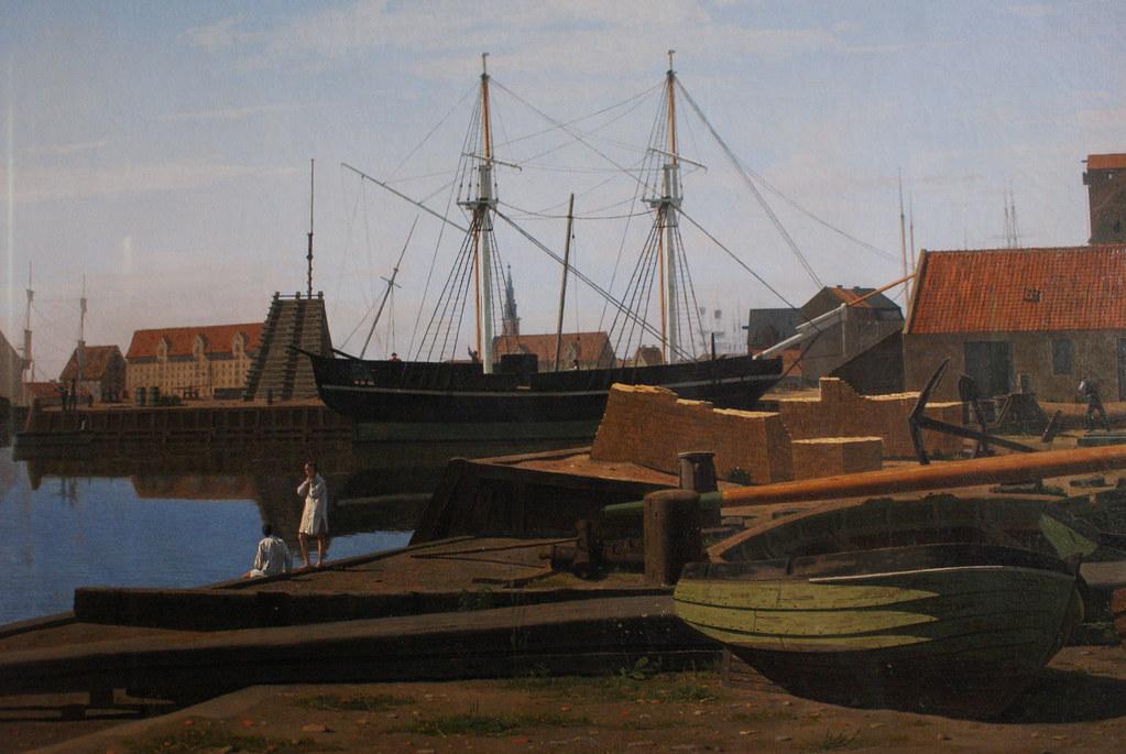 Peinture du port de Copenhague au Thorvaldsen Museum de Copenhague