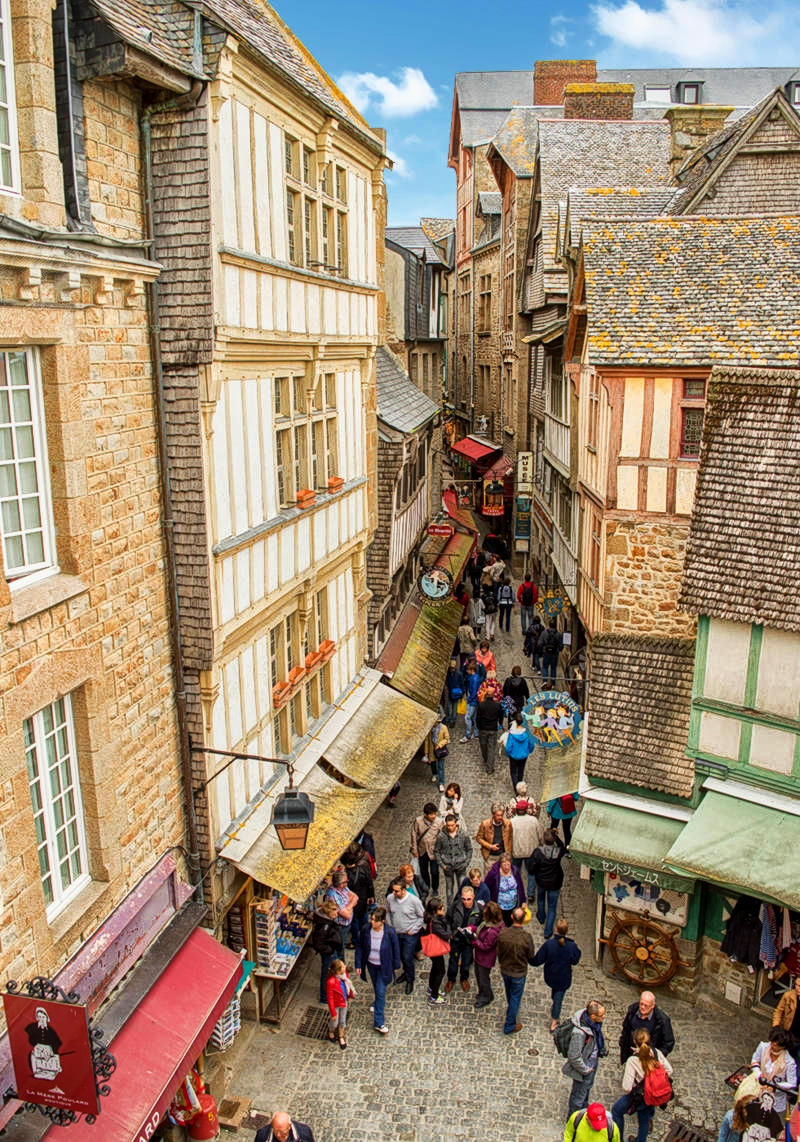 The Grand Rue throw Le Mont-Saint-Michel seen from above. Credit Supercarwaar