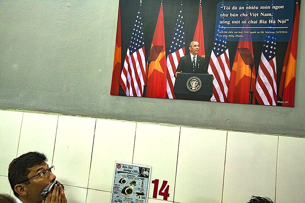 Obama image at Bun Cha Huong Lien--Hanoi