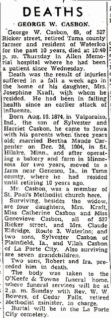 George W Casbon death Iowa 1944