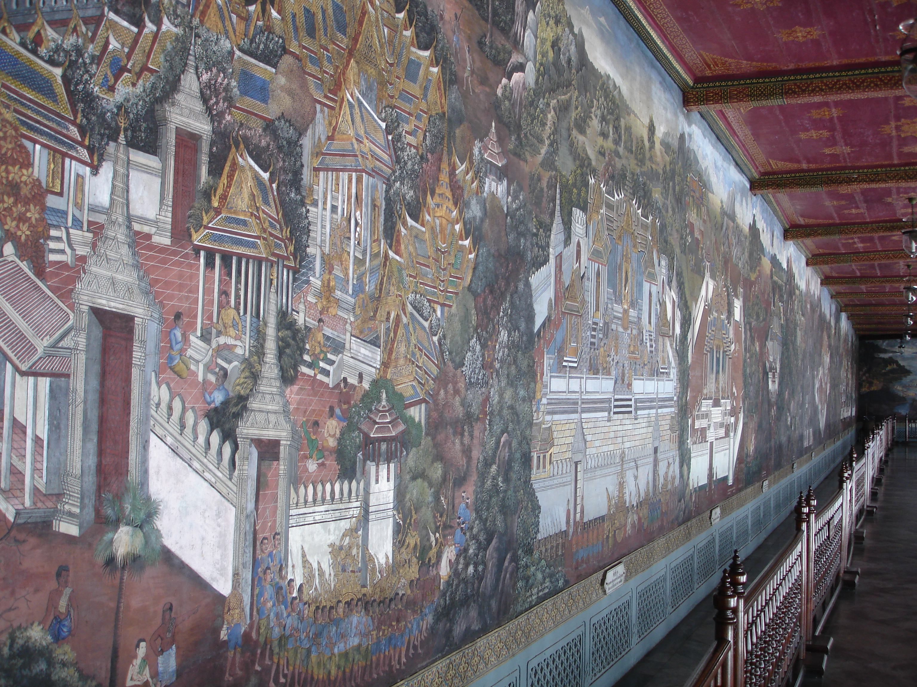 Murals at the Grand Palace in Bangkok. Photos taken by Mark Jochim on May 17, 2006.