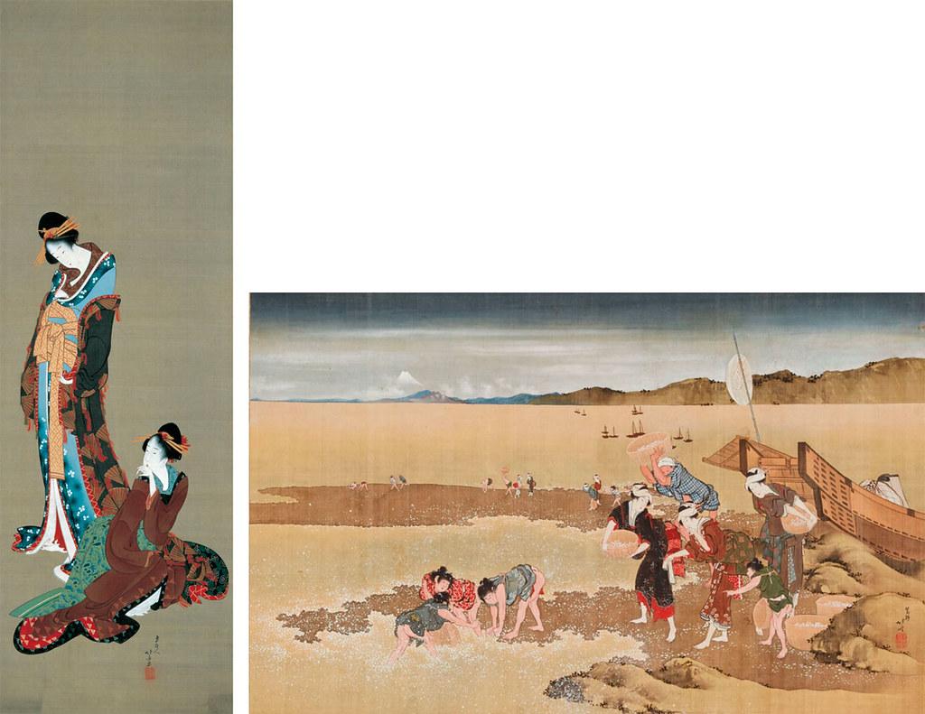 左)葛飾北斎《二美人図》(1801-04年頃、MOA美術館) 右)葛飾北斎《潮干狩図》(1807-10年頃、大阪市立美術館)
