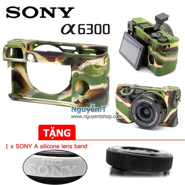 Bao Silicon cover Sony A6300 Camo tặng 1 vòng sony