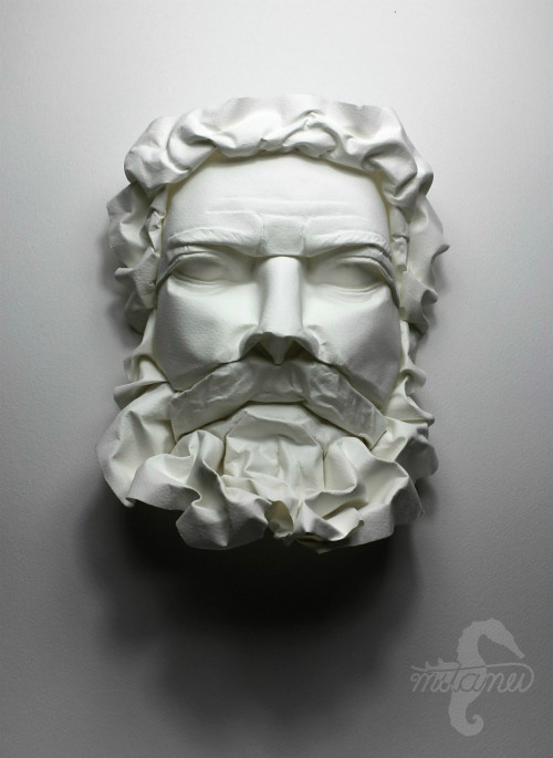 Facing His Penance - Wet-Fold Origami by Daniel Chang