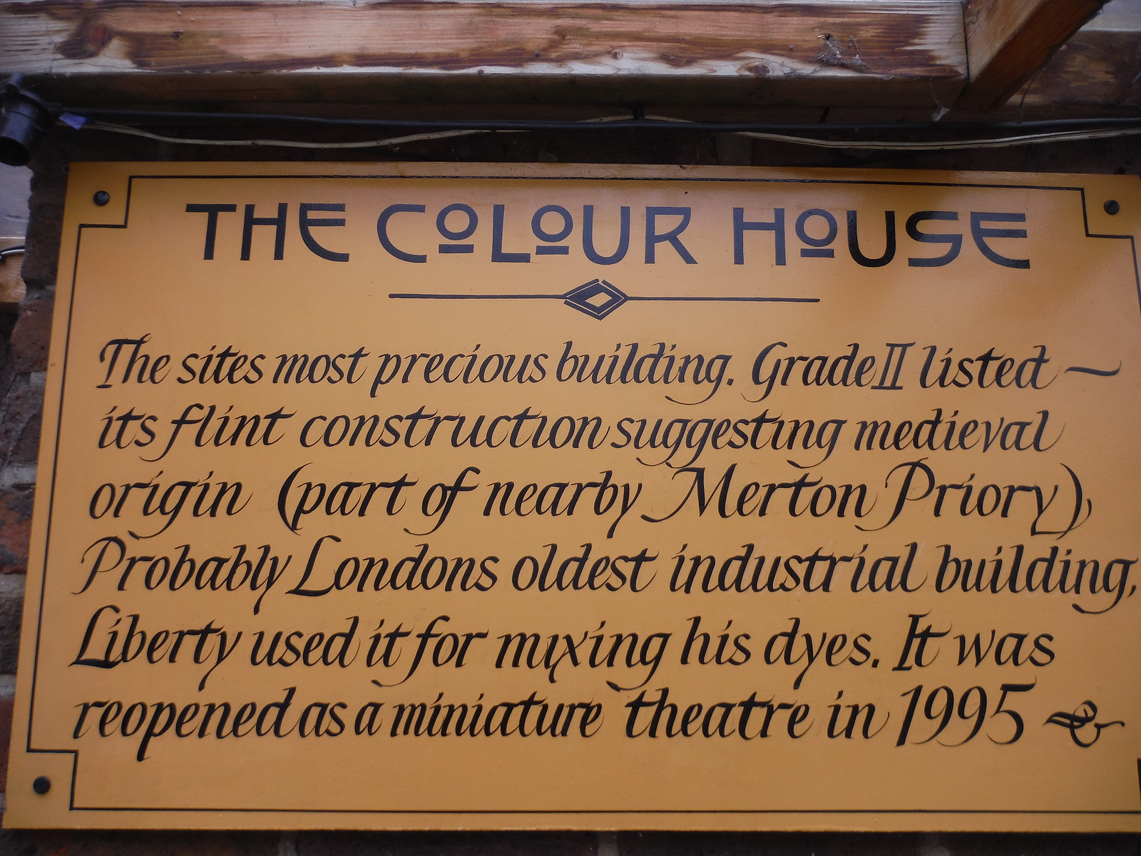 Plaque on The Colour House, Merton Abbey Mills SWC Walk Short 13 - Morden Hall Park and Merton Abbey Mills