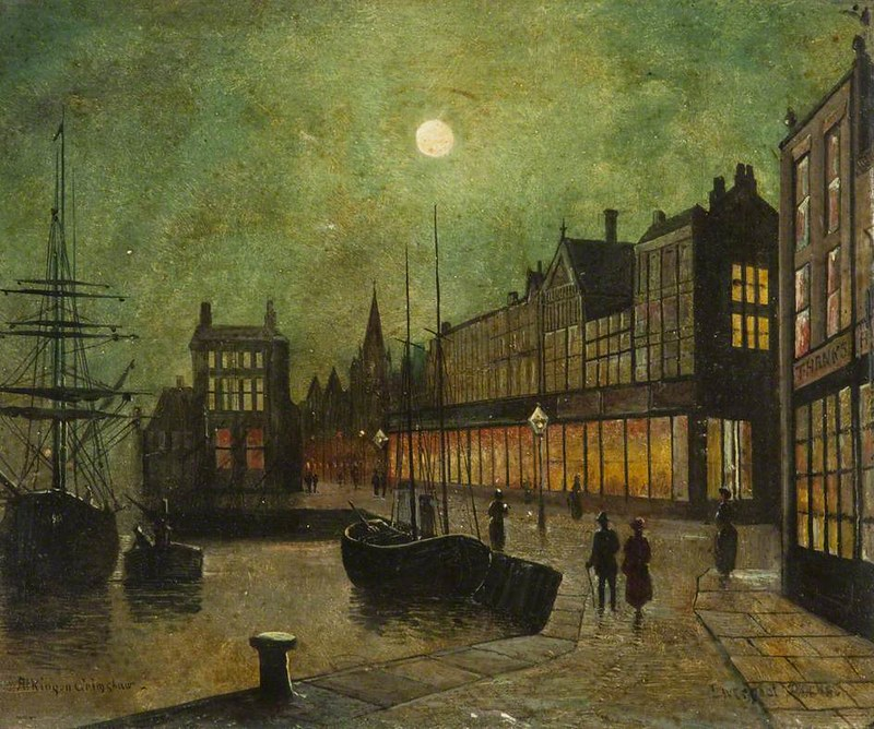 Liverpool Docks attributed to John Atkinson Grimshaw