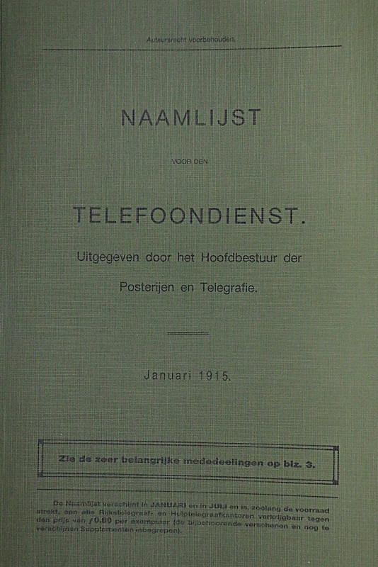 1915 Telefoonboek Noordwijk