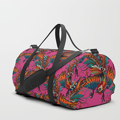 rooster ink pink society6 duffle bag