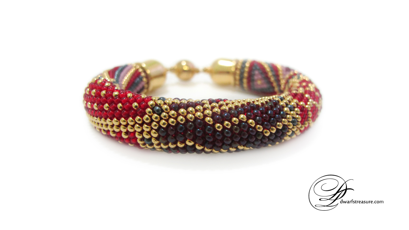 amazing multicolored beaded crochet bracelet with geometric pattern