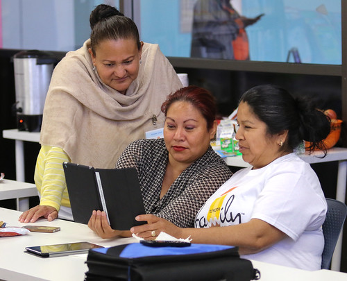 Adults receiving eBook lessons as part of our Adult Literacy program.