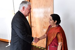 Secretary Tillerson Greets Indian External Affairs Minister Swaraj Before Their Meeting in New York City