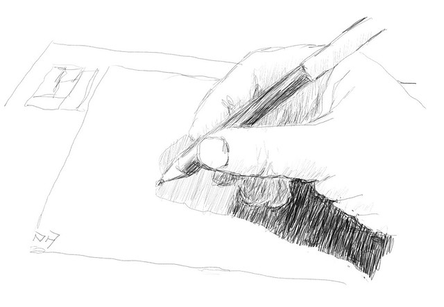 Day 1 pencil sketch of wacom tablet