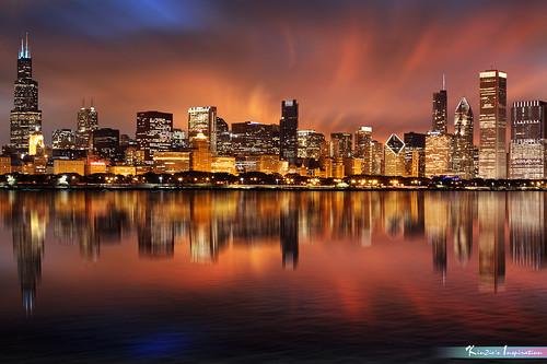 Fiery Night, Chicago Skyline *A Popular Landmark*