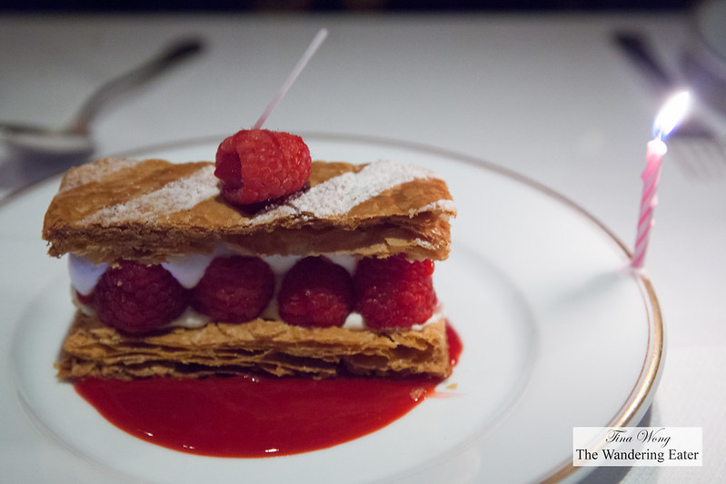 Birthday Millefeuille aux framboises for my mother