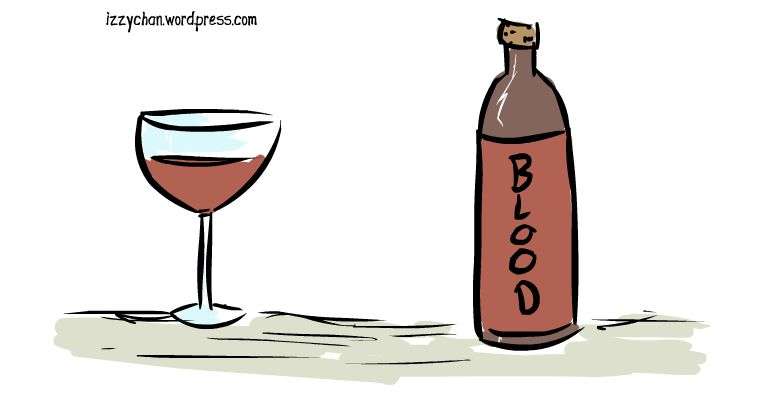 drawlloween blood wine drink