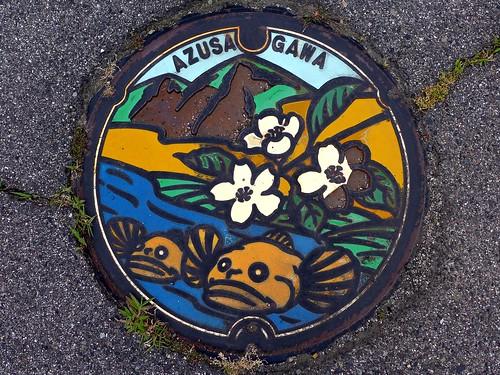 Azusagawa Nagano, manhole cover (長野県梓川村のマンホール)