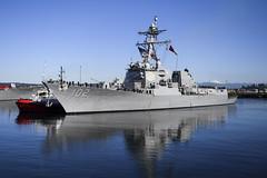 USS Sampson (DDG 102) pulls away from the pier at Naval Station Everett, Oct. 3. (U.S. Navy/MC2 Alex Van'tLeven)