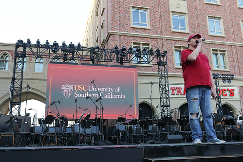Getting ready at the front stage of USC Village Opening dress rehearsal