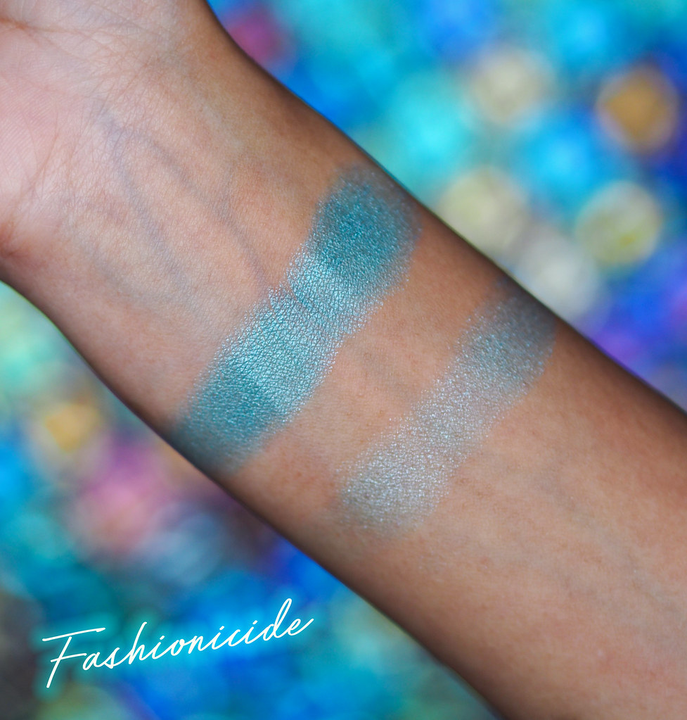 MUA Highlighting Highlighter Blue Aqua Shine Icy Blue Swatch Swatches