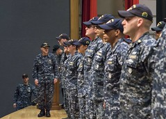 Vice Adm. Phil Sawyer awards the Navy and Marine Corps Commendation Medal to USS Fitzgerald (DDG 62) Sailors. (U.S. Navy/MC1 Leonard Adams)