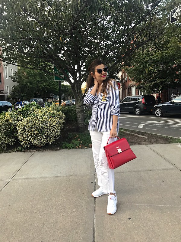 white jeans, stripe shirt, street style, mom style, mon purse initial bag, alley girl new york based fashion blogger 2