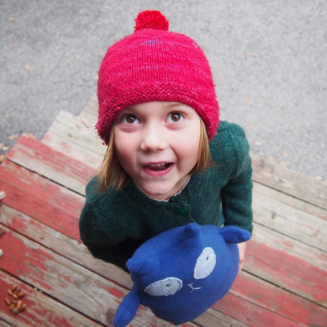 Oh, kiddo, your sweater, pompom, and Cat were a lot of work but you're so stinking cute as Peg that it was totally worth it!