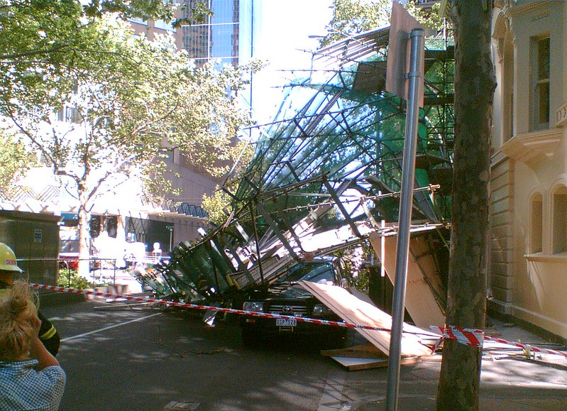 Scaffolding collapse, Exhibition Street, October 2007