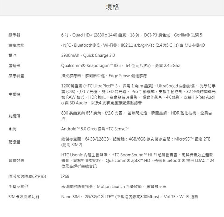 HTC U11+規格