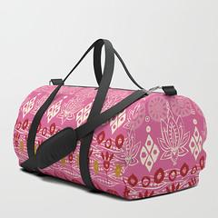 lotus block pink duffle bag