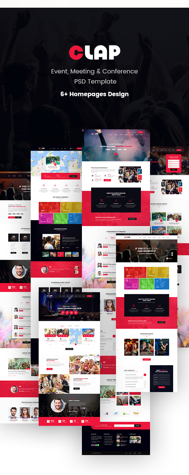 Clap - Event, Meeting & Conference PSD Template - 1