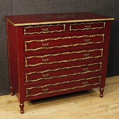 Spanish lacquered and gilt chest of drawers
