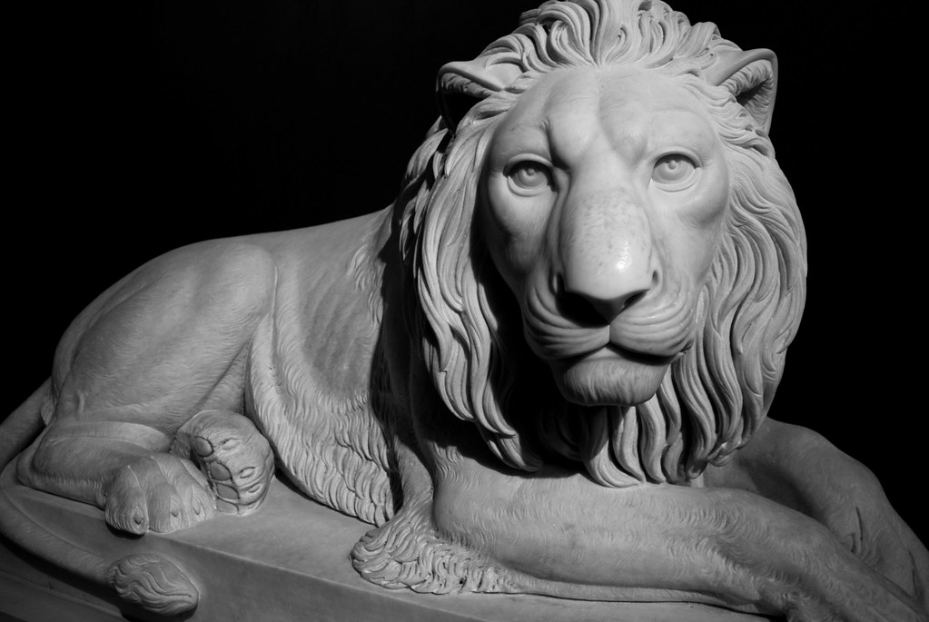 "> Sculpture du ""Lion couché"" de Thorvaldsens à Copenhague."
