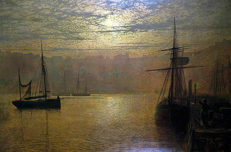 Lights in the Harbour, Scarborough by John Atkinson Grimshaw, 1879