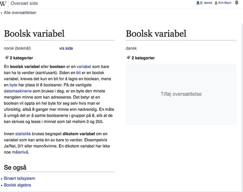 Norsk Wikipedia - Boolsk variabel - Oversettelse, før redigering