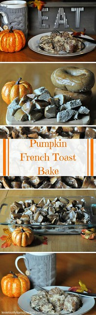 Delicious Pumpkin French Toast Bake with Pumpkin Cream Cheese Glaze {Brueggers Bagels Partner} #BrueggersBunch #Pumpkin #Fall #Breakfast #FrenchToast #Recipe