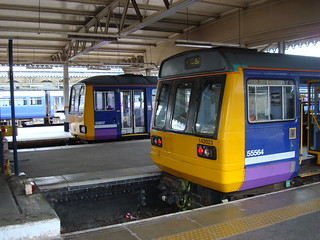 Three Arriva Northern Pacer diesel multiple units in Sheffield station