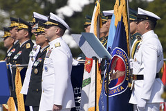 Rear Adm. Brad Cooper and Master Chief Chris Stone look on during the 69th annual ROK Armed Forces Day ceremony, Sept. 28. (U.S. Navy/MCSN  William Carlisle)