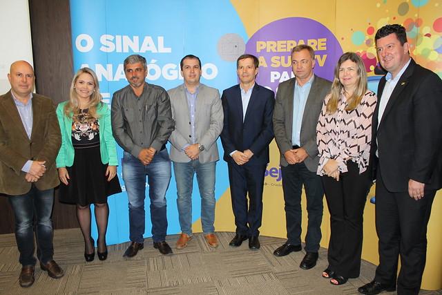 Cerimônia de assinatura de parceria da Seja Digital com prefeituras para implantação da tv digital na Gde. Fpolis