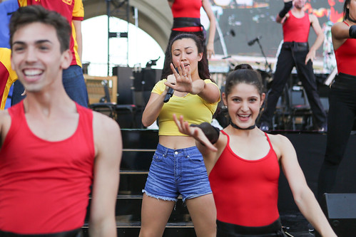 Dancers performing in USC Village Opening dress rehearsal