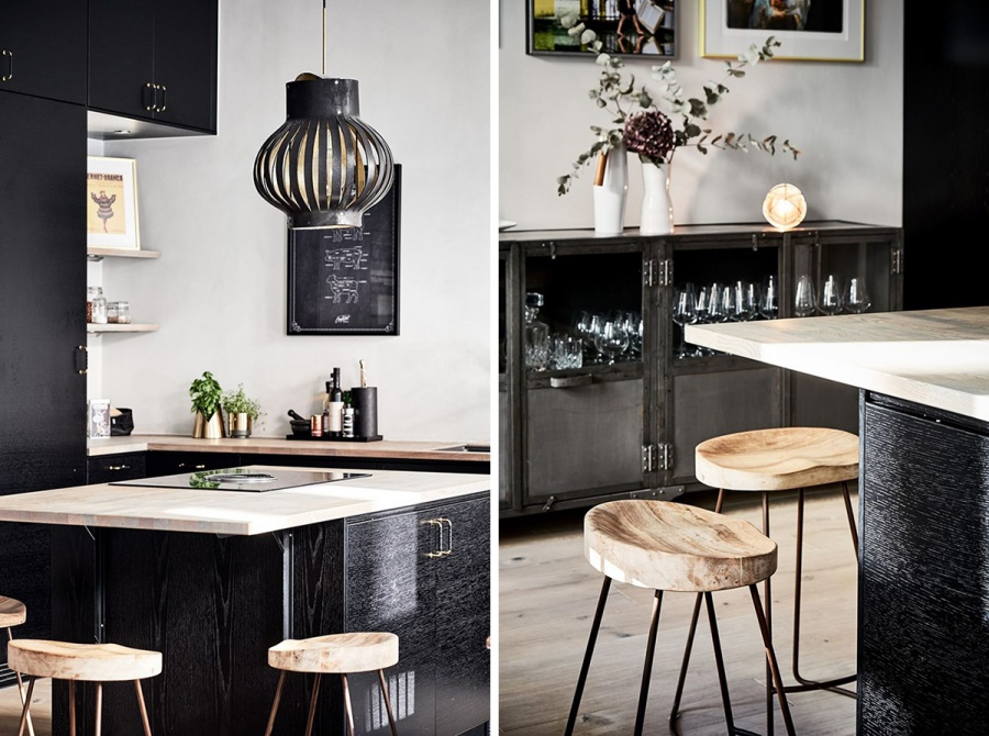 Black and White Scandinavian Home With Wooden Floors