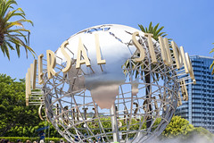 Hollywood- USA, July 16, 2014: Universal Studios Sign Seen at Universal Studios in Los Angeles in July 16, 2014, United States