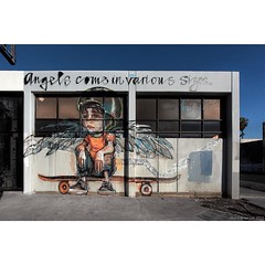 'Angels Come in Various Sizes' - unmistakable #Herakut spotted in #LosAngeles. #wallkandy #art #streetart #mural #fb #f #t #p #skateboader #culvercity