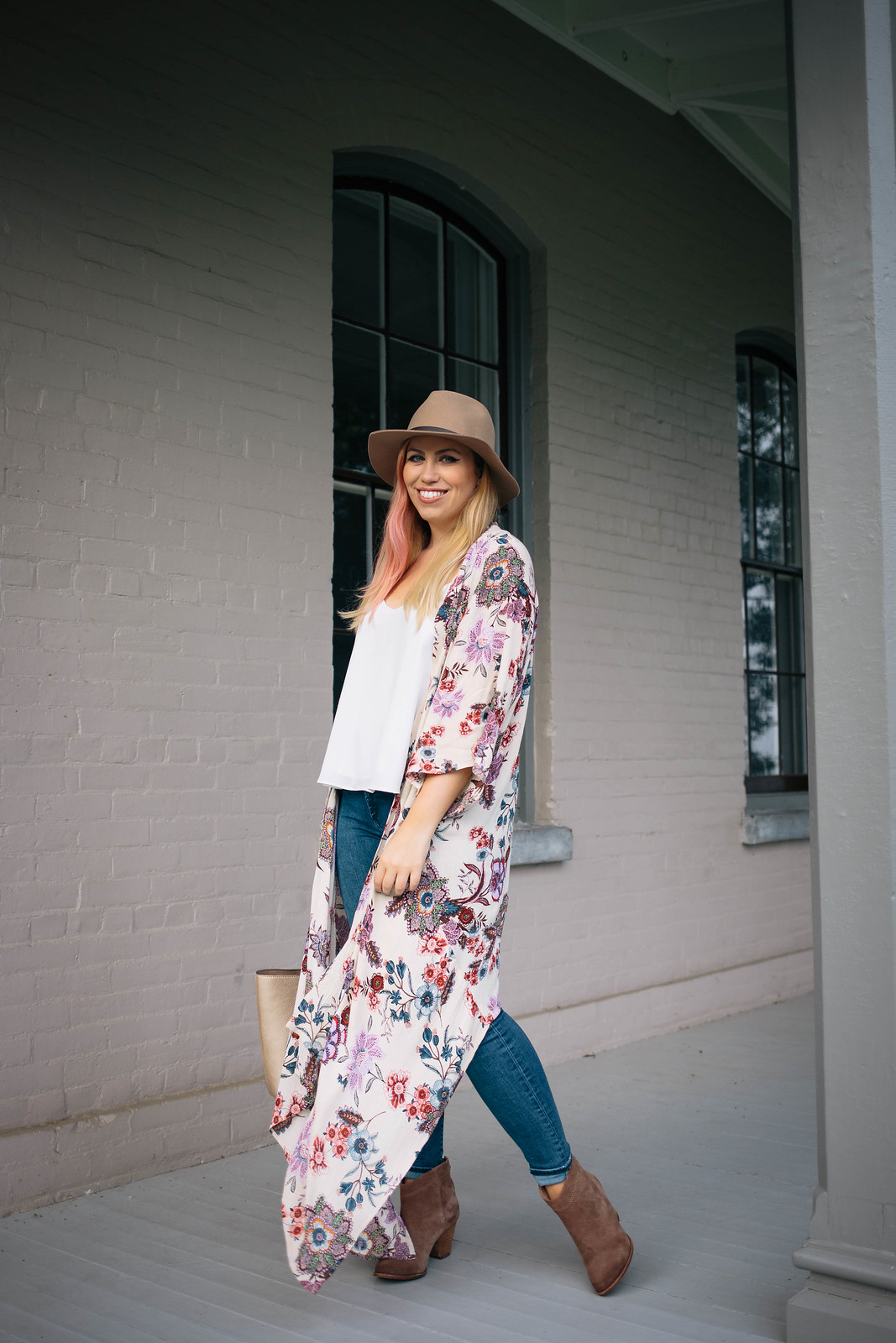 Long Vintage Floral Kimono Skinny Jeans Tan Suede Booties Fall Outfit Fashion Jackie Giardina