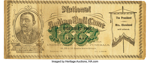 1887 National Indian Ball Game Ad Note front