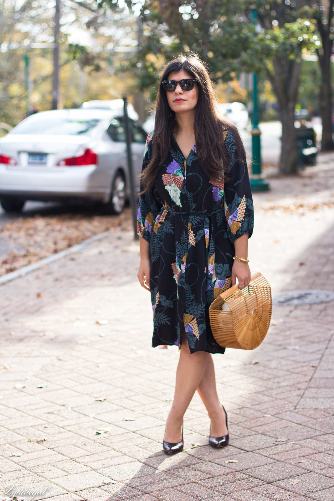 Tucker Japanese Floral Dress, Bamboo Bag, Fall Outfit
