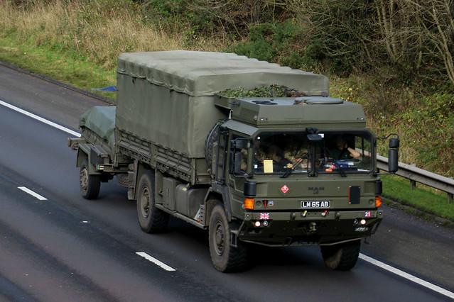 Military Vehicle MAN 9 Ton 4w Cargo LM65AB at M74 Larkhall.