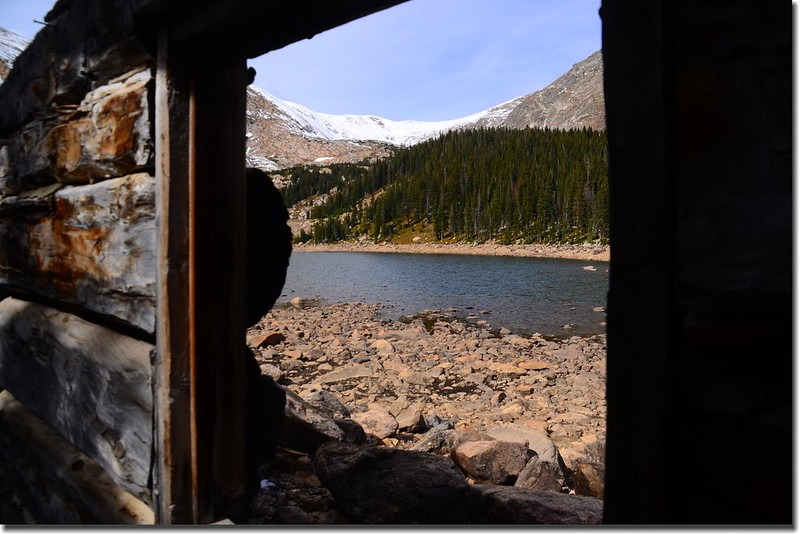 View of Chinns Lake through the old cabin ruin window 1